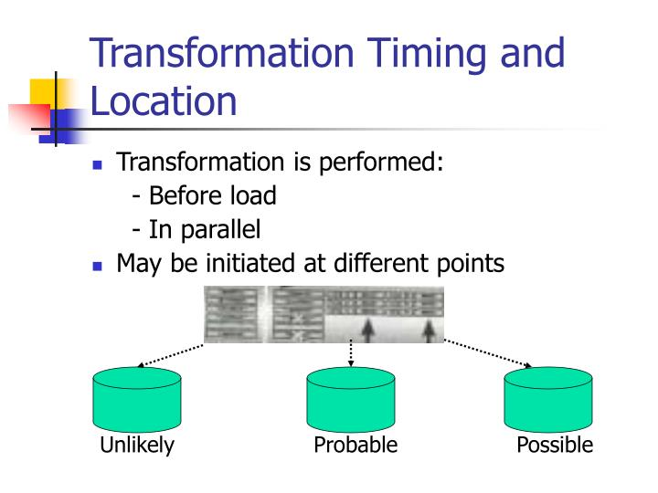Transformation Timing and Location