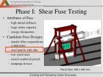 phase i shear fuse testing