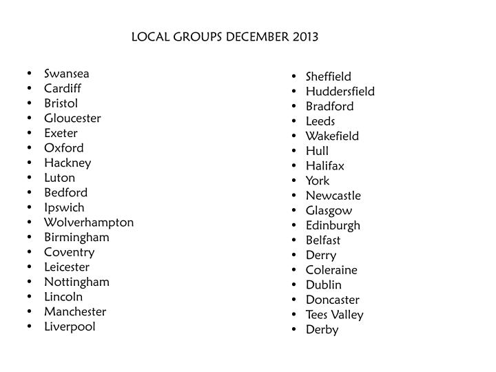 Local groups december 2013
