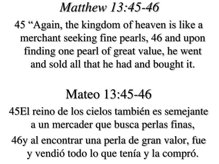 Matthew 13:45-46