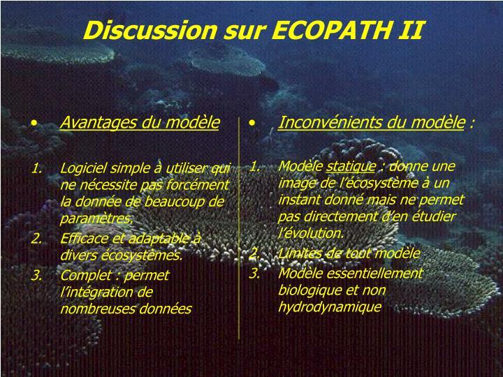 Discussion sur ECOPATH II