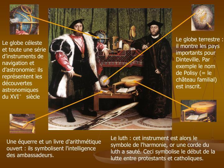 Le globe terrestre : il montre les pays importants pour Dinteville. Par exemple le nom de Polisy (= le château familial) est inscrit.