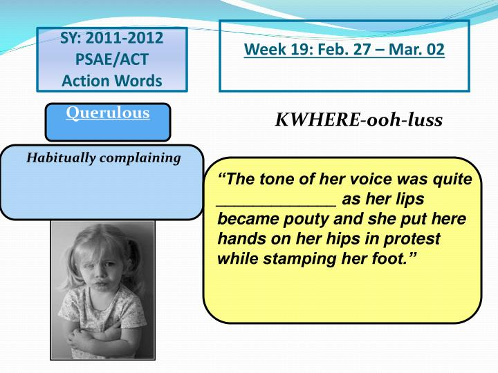 Week 19: Feb. 27 – Mar. 02