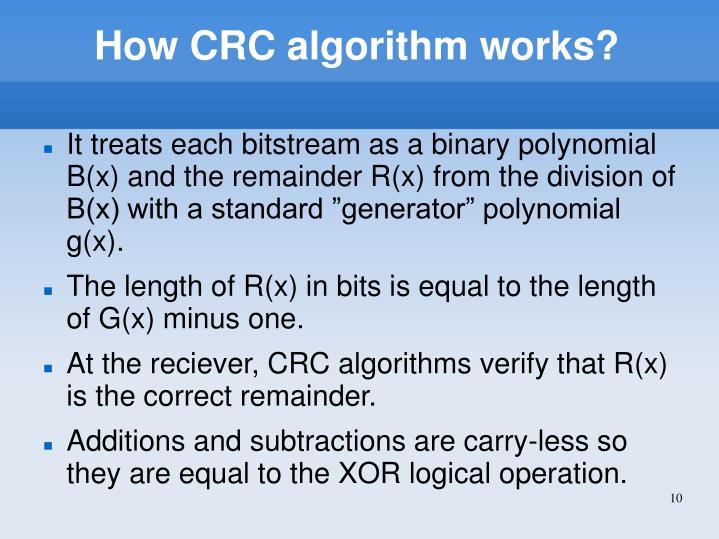 How CRC algorithm works?