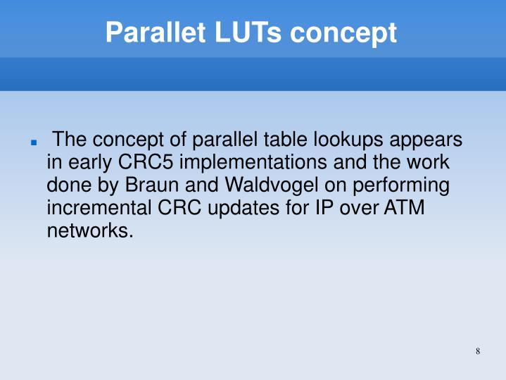 Parallet LUTs concept