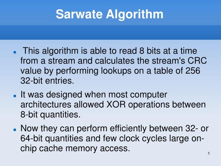 Sarwate Algorithm