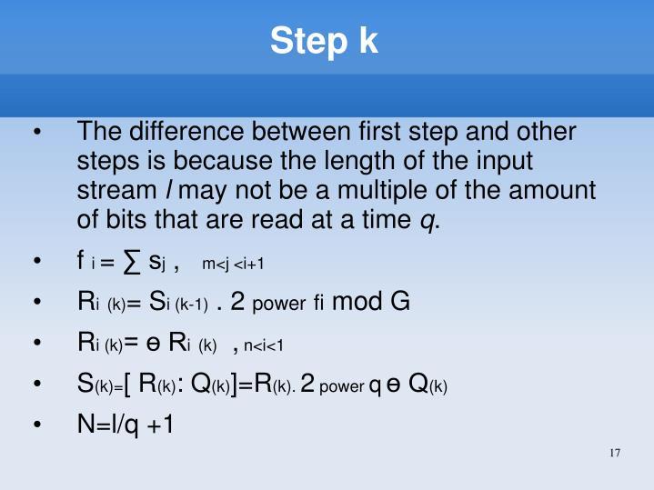 Step k