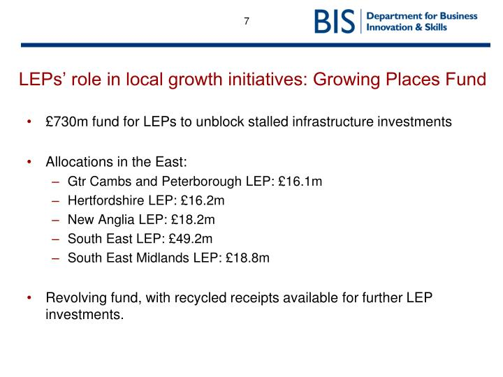LEPs' role in local growth initiatives: Growing Places Fund