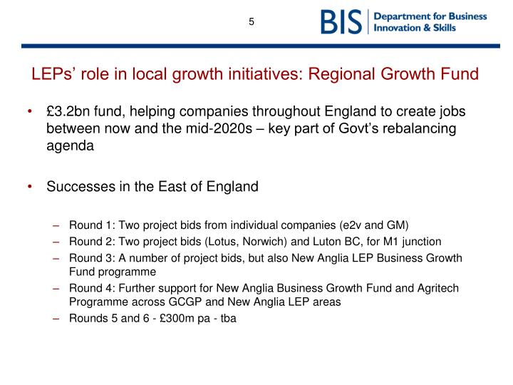 LEPs' role in local growth initiatives: Regional Growth Fund