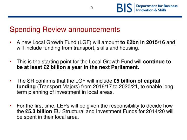 Spending Review announcements