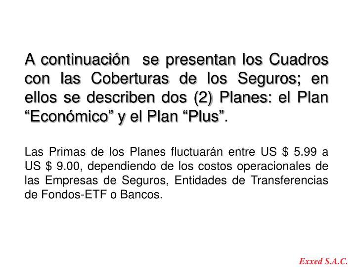 """A continuación  se presentan los Cuadros con las Coberturas de los Seguros; en ellos se describen dos (2) Planes: el Plan """"Económico"""" y el Plan """"Plus"""""""