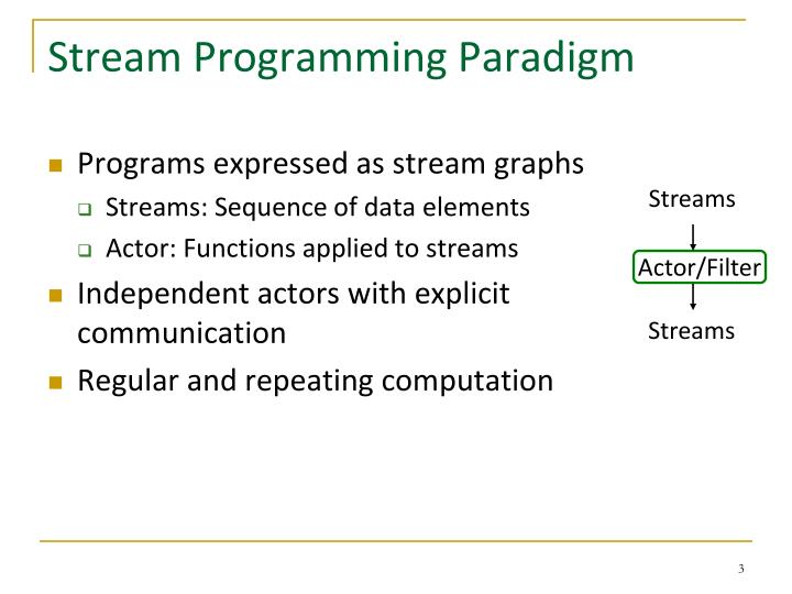 Stream programming paradigm