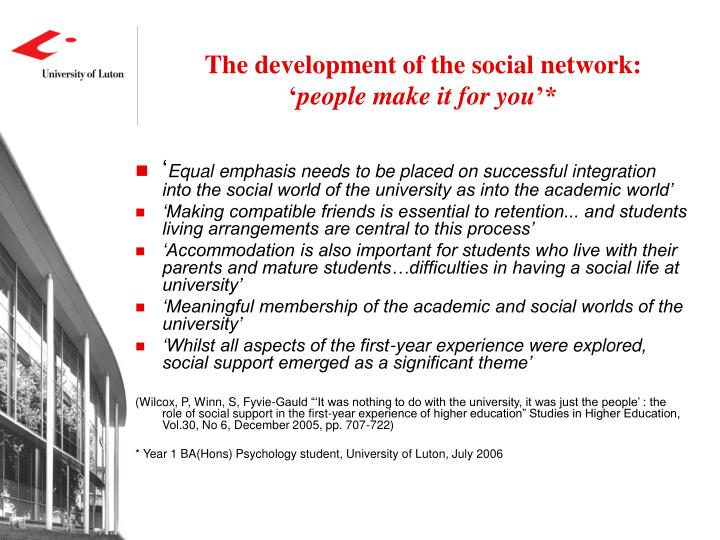 The development of the social network: