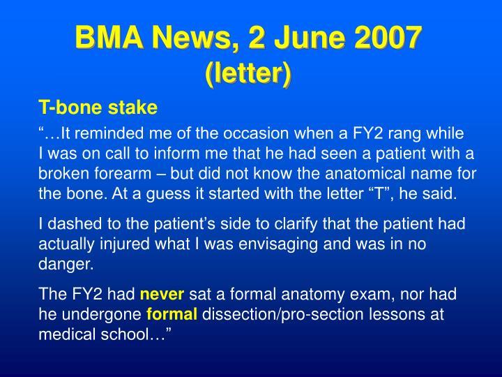 BMA News, 2 June 2007