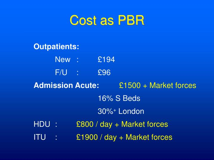 Cost as PBR