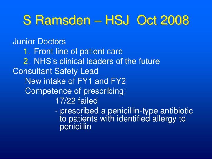 S Ramsden – HSJ  Oct 2008