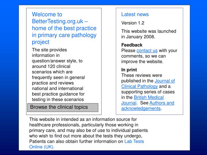 Welcome to BetterTesting.org.uk – home of the best practice in primary care pathology project