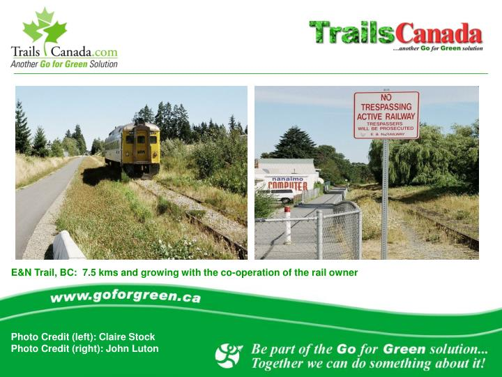 E&N Trail, BC:  7.5 kms and growing with the co-operation of the rail owner