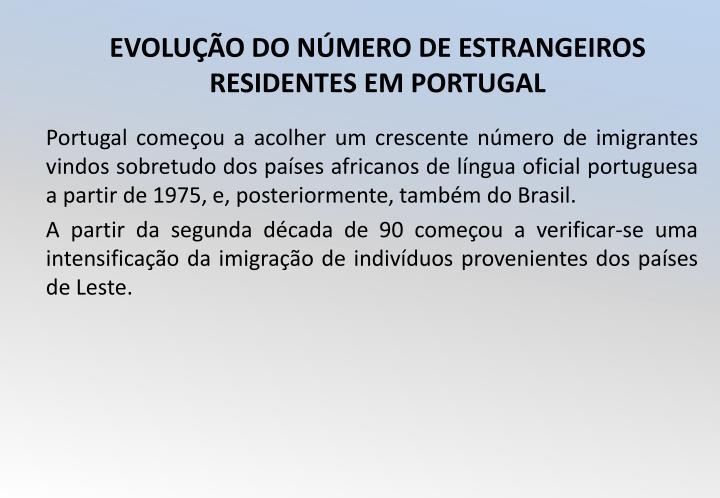 Portugal começou a acolher um crescente número de imigrantes vindos sobretudo dos países africanos de língua oficial portuguesa a partir de 1975, e, posteriormente, também do Brasil.
