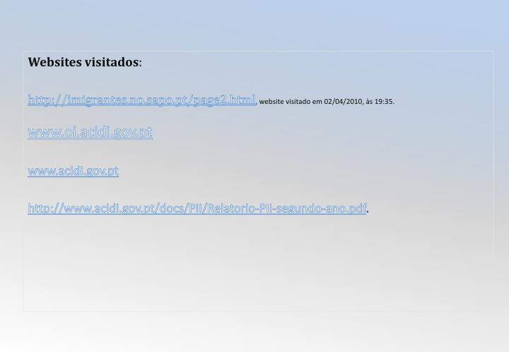 Websites visitados