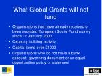 what global grants will not fund