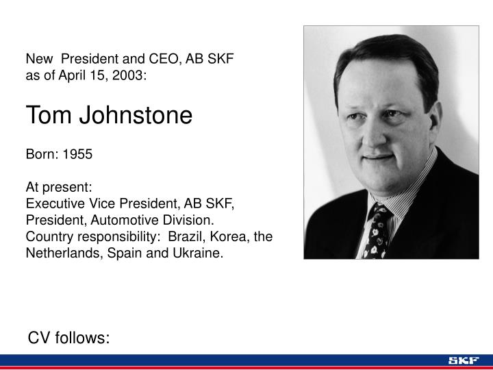New  President and CEO, AB SKF