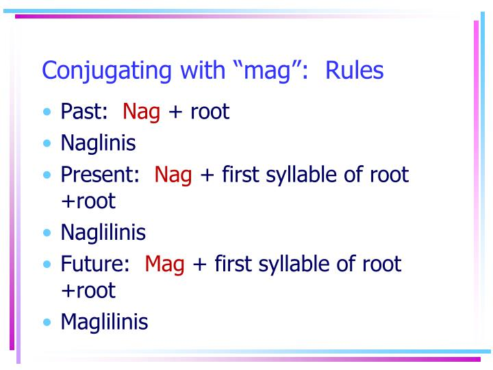 Conjugating with mag rules