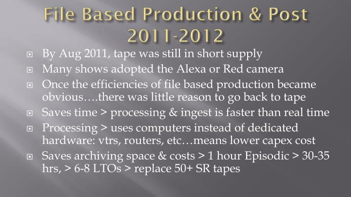 File based production post 2011 2012