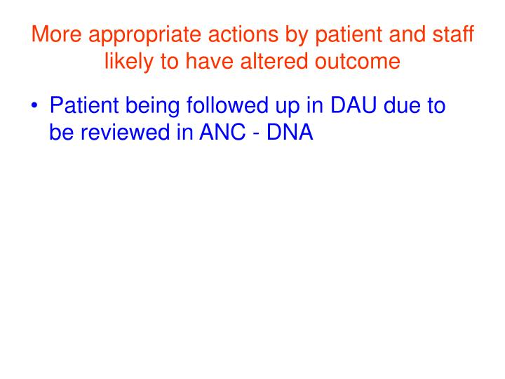 More appropriate actions by patient and staff likely to have altered outcome