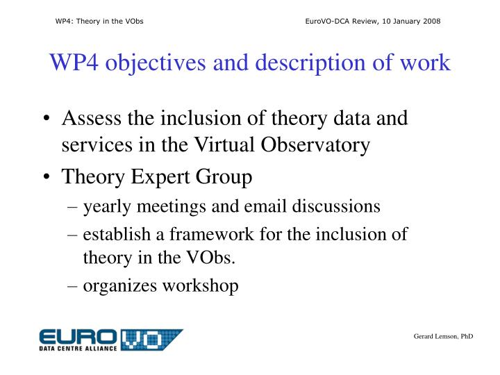 Wp4 objectives and description of work
