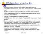 aps guidelines on authorship