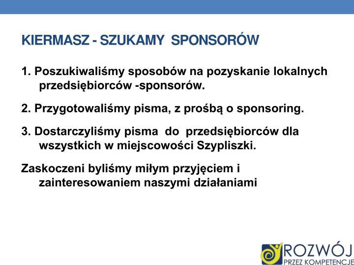 Kiermasz - szukamy  sponsorów