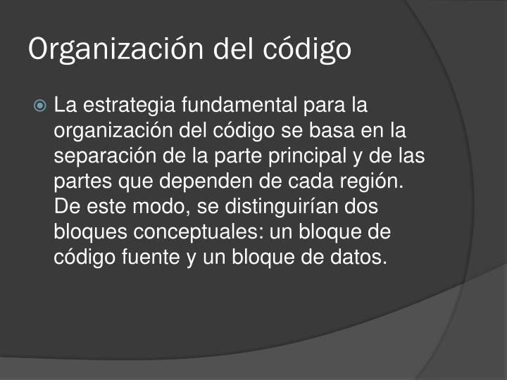 Organización del código