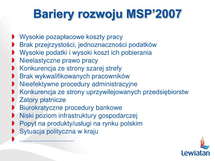 Bariery rozwoju MSP'2007