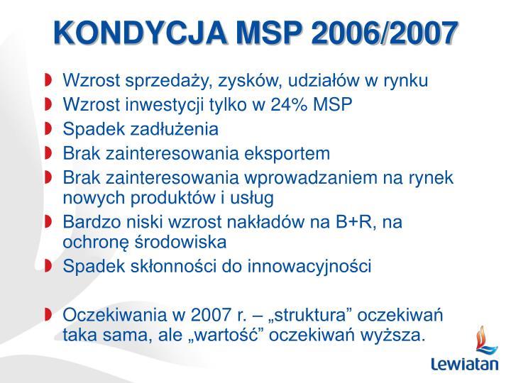 KONDYCJA MSP 2006/2007