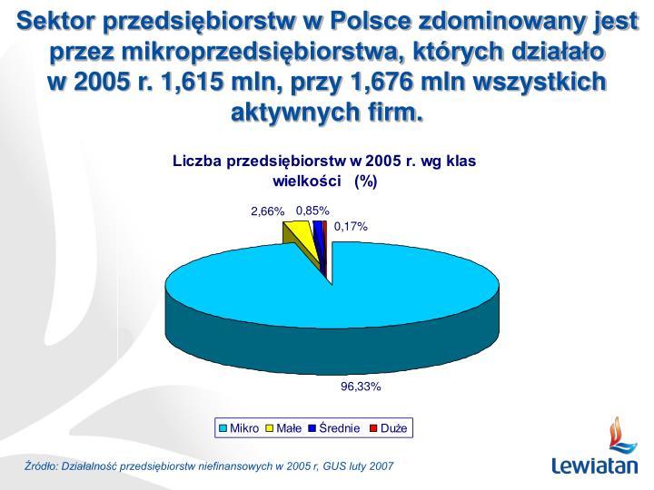 Sektor przedsiębiorstw w Polsce zdominowany jest przez mikroprzedsiębiorstwa, których działało
