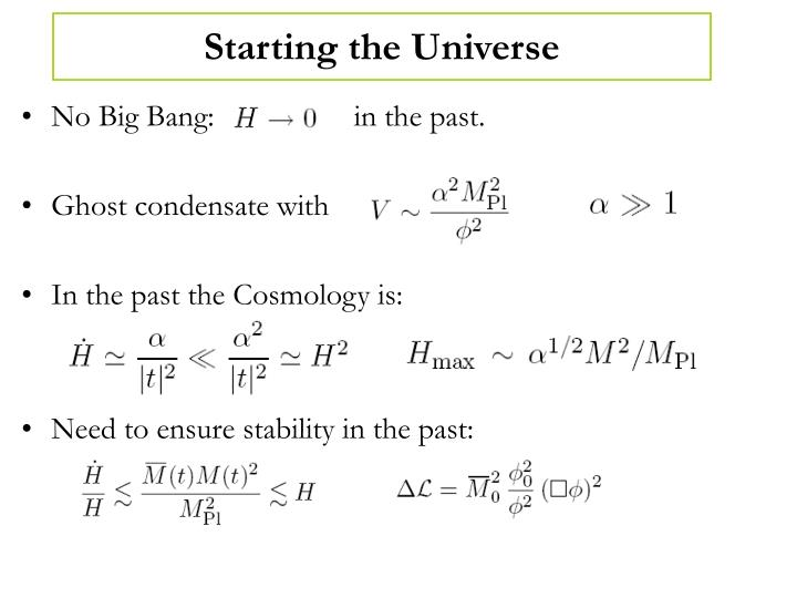 Starting the Universe