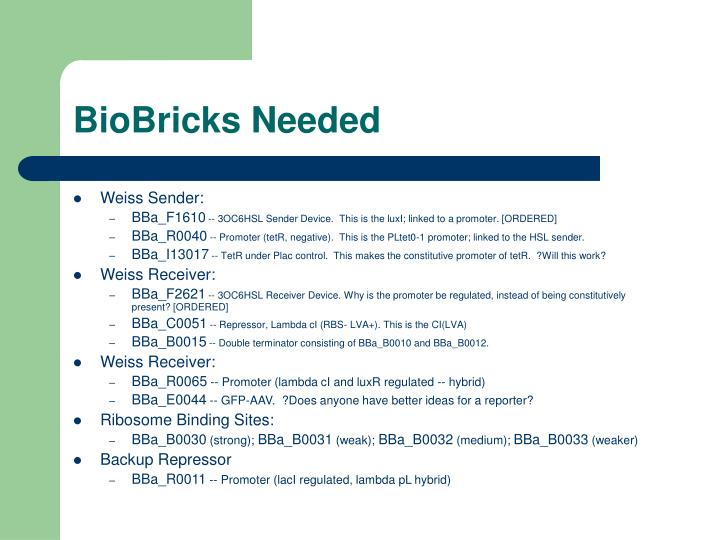 BioBricks Needed