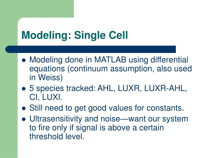 Modeling: Single Cell