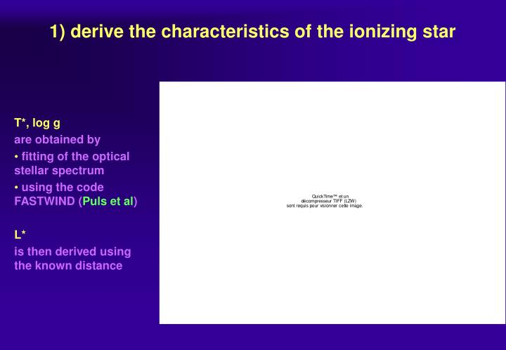 1) derive the characteristics of the ionizing star