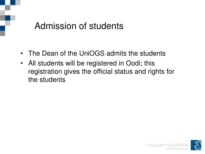 Admission of students