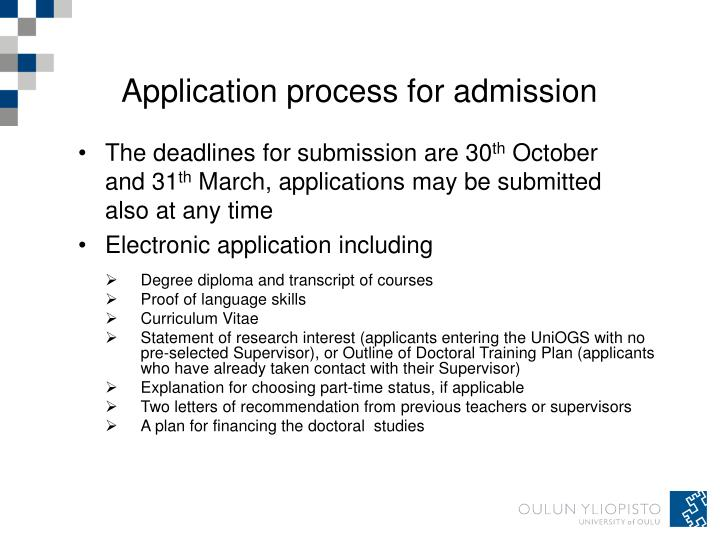 Application process for admission