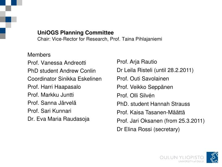 UniOGS Planning Committee