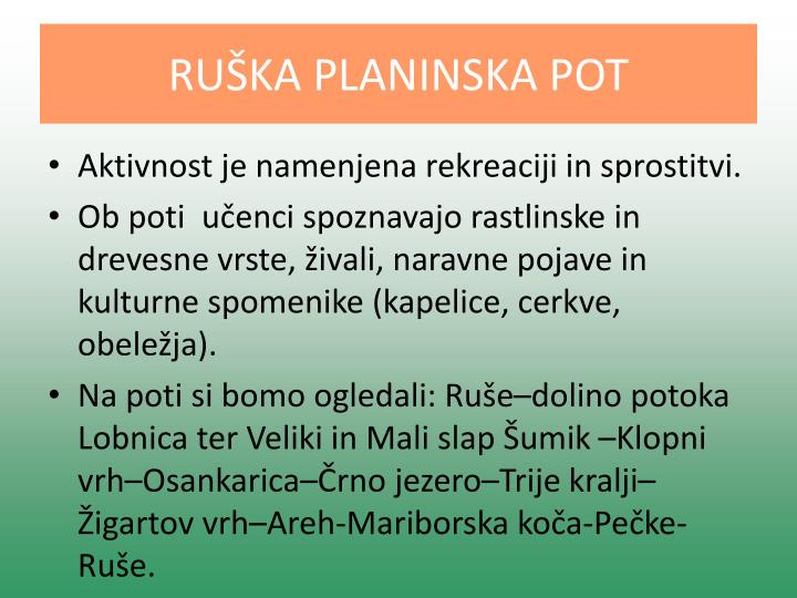 RUŠKA PLANINSKA POT