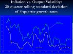 inflation vs output volatility 20 quarter rolling standard deviation of 4 quarter growth rates