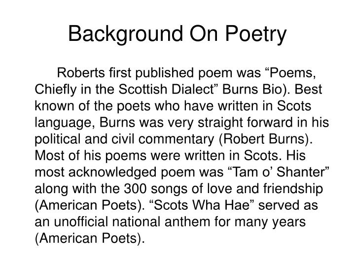 Background on poetry