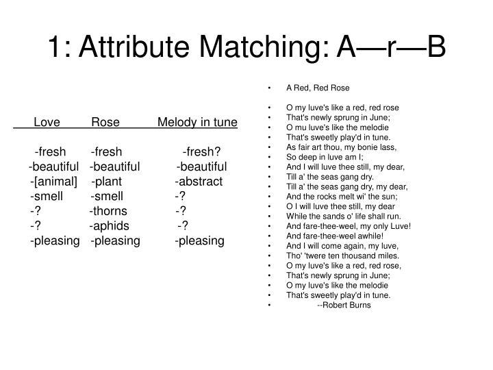 1 attribute matching a r b