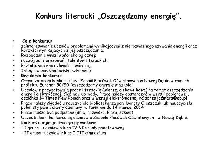 """Konkurs literacki """"Oszczędzamy energię""""."""