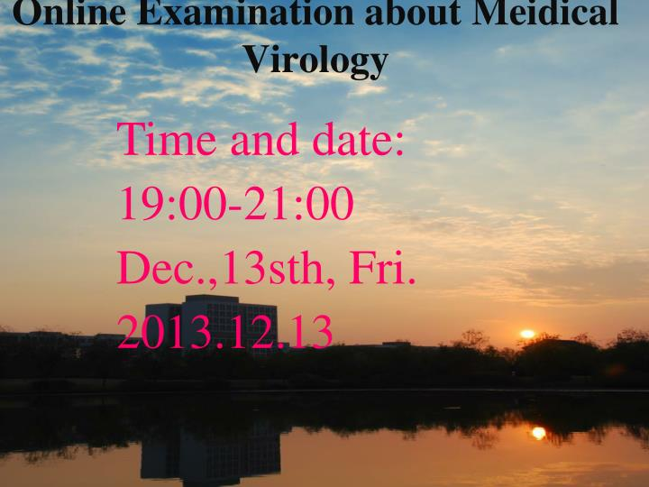 online e xamination about meidical virology n.