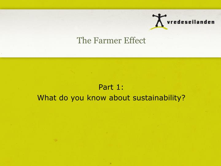 Part 1 what do you know about sustainability
